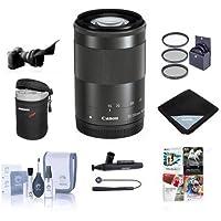Canon EF-M 55-200mm f/4.5-6.3 IS STM Lens, Black - Bundle with 52mm Filter Kit, Flex Lens Shade, Soft Lens Case, Cleaning Kit, Lens Wrap (19x19), Lenscap Leash, LensPen Lens Cleaner, Software Package
