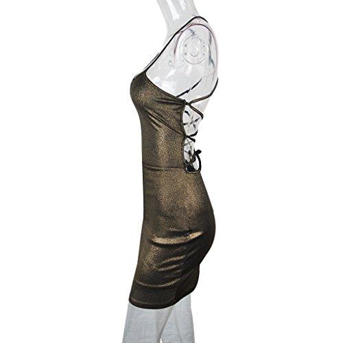 Lacer Or Mini Robe Bandage Moulante Brillante Sangle De Spaghetti Des Femmes Carprinass