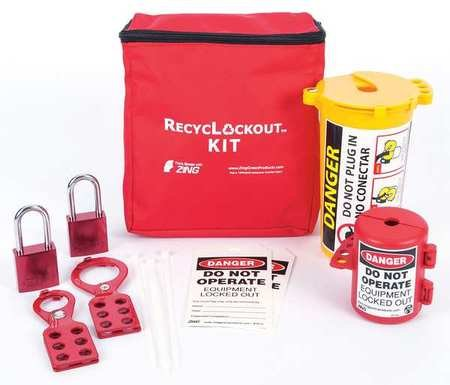 ZING 2733 RecycLockout Lockout Tagout Kit with Aluminum Padlocks, 11 Component, Plug Lockout by Zing Green Products