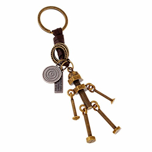 PopJ Vintage Pendant Design Key Rings Holder Handmade Leather Keychain (Robot)