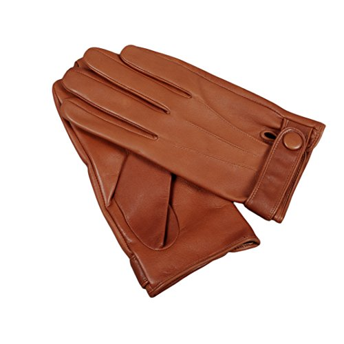 Men's Warm Gloves, Magelier Winter Sheepskin Leather Daily Dress Driving Gloves, Large, Brown by Magelier
