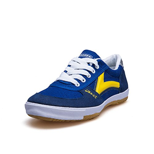 DOUBLESTAR MR Classic Kung Fu Shoes for Martial Arts, Lightweight Sneaker with Rubber Sole-Blue/White