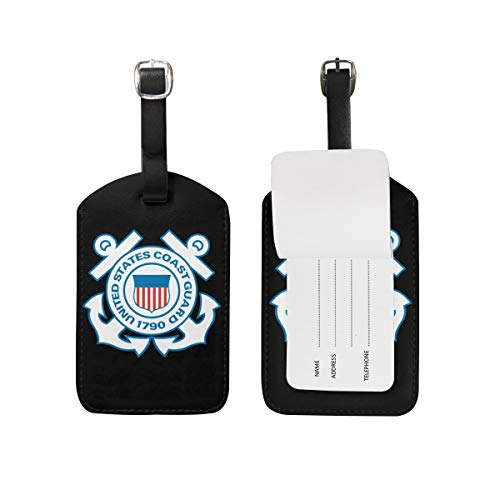 Dbou United States Coast Guard Luggage Bag Tags Leather Travel ID Labels Suitcase Name Tags