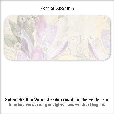 f/ür 1 bis 5 Zeilen Text 38 Hintergr/ünde zur Auswahl Adress-Aufkleber Sticker mit Ihrem Wunschtext 53x 21mm 25 Pattern Wolken Adress-Etiketten 110 St/ück