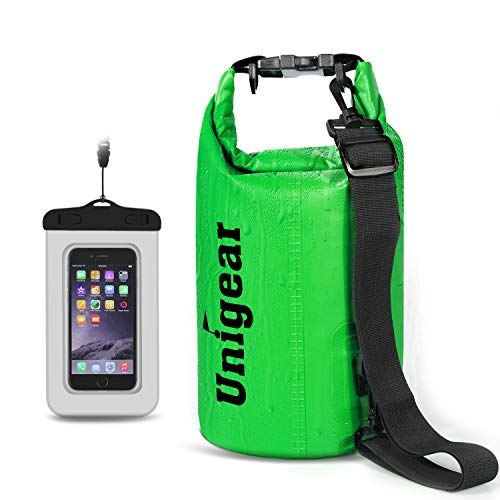 (Unigear 2L/5L/10L/20L/30L/40L 600D Dry Bag Sack, Waterproof Floating Dry Gear Bags for Boating, Kayaking, Fishing, Rafting, Swimming and Camping with Waterproof Phone Case(Green, 5L))