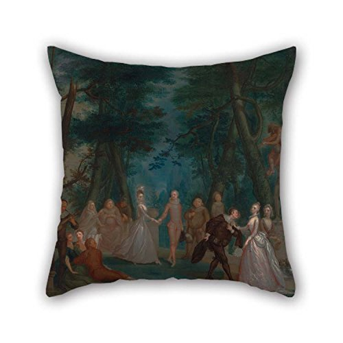 Throw Cushion Covers Of Oil Painting Marcellus Laroon The Younger - Scene In A Park, With Figures From The Commedia Dell'Arte For Office Adults Bedroom Bar Seat Couples Lounge 18 X 18 Inches / 45