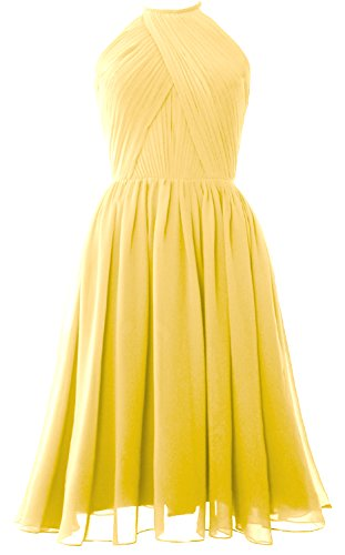 Bridesmaid Back Open Chiffon Women Cocktail Gown Short Halter with MACloth Dress Canary qSaYw7