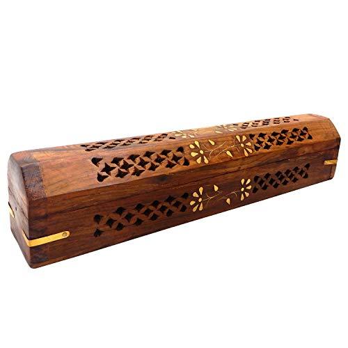 PMK Wooden Hand Carved Coffin Incense Burner Brass Inlays & Storage Incense Holder, Incense Stick Stand, Stick Holder, Incense Burners | Handmade | (12 x 2.5 Inch) Brass Inlay Stick Incense Burner