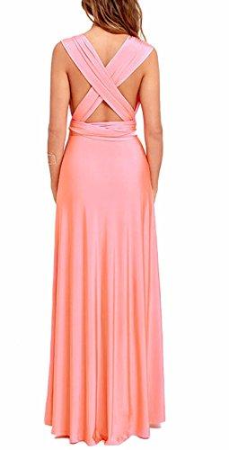 de EMMA Elegante de Noche Rosa de Cóctel Mujeres Falda Vestido Dama sin Larga Honor Respaldo wpnqtZHp