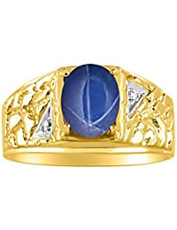 Mens Nugget Ring with Oval Shape Gemstone & Genuine Sparkling Diamonds in 14K Yellow Gold Plated Silver .925-9X7MM Color Stone Birthstone Rings