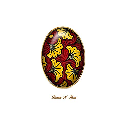 Bague wax jaune et rouge bijou femme cabochon Afrique ethnique