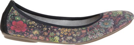Hush Puppies Chaste Ballet Flat Black Floral Suede