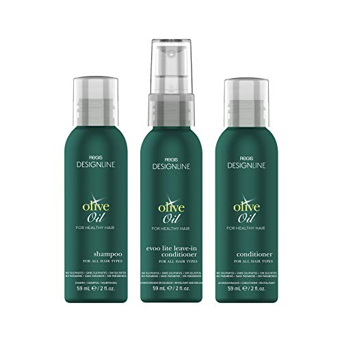Olive Oil Shampoo and Conditioner Travel Set, Trio Kit - Regis DESIGNLINE - Convenient Mini Size, Restores Dry and Damaged Hair without Build-Up and Protects Against Damage, Dryness, and Color Fading ()