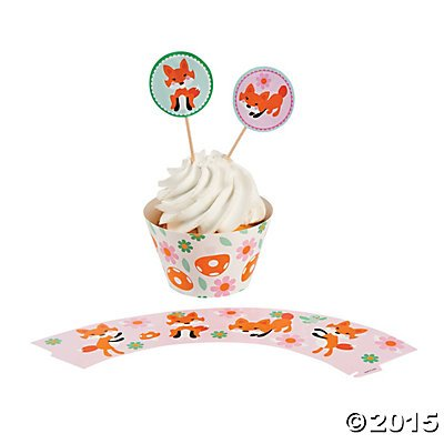 Fox Cupcake Wrappers with Picks - (50 wrappers and 50 picks)