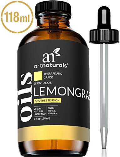 ArtNaturals 100% Pure Lemongrass Essential Oil - (4 Fl Oz / 120ml) - Undiluted Therapeutic Grade - Soothe Clease and Purify