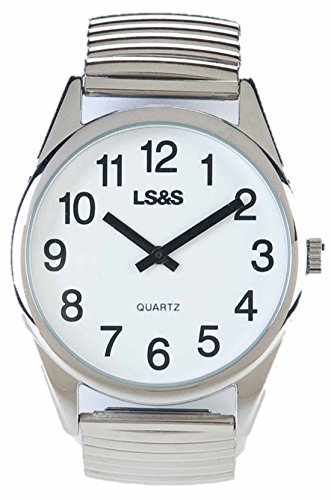 Low Vision Watch - White Face - Silver Expansion Band - Low Vision Appliances