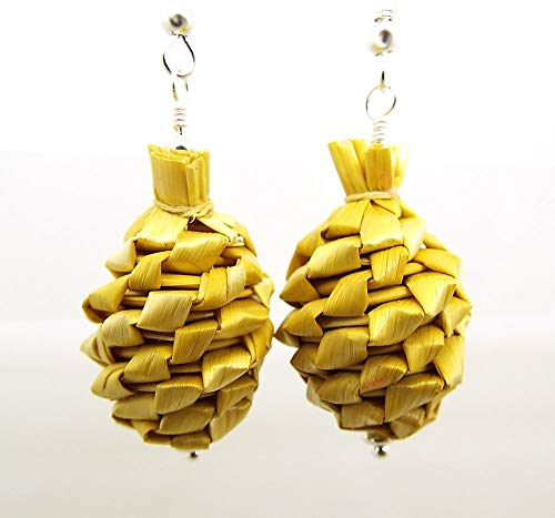 Pine Cone Earrings Made with Woven Raffia