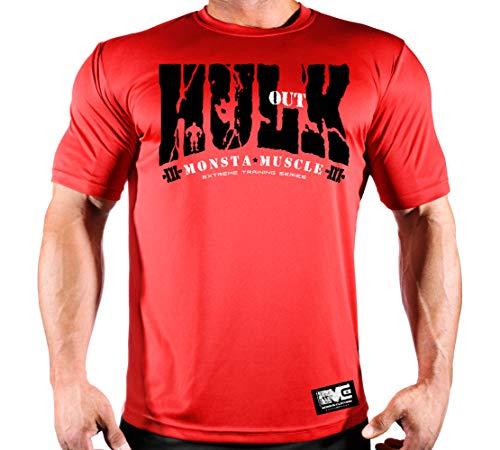 Hulk Out: Feel The Rush-210 Poly-Dri T-Shirt (Red Poly-Dri TEE/BK Art, XL) ()