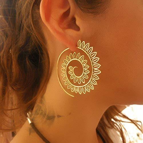 6a0da8d6226a1 Brass Earrings - Brass Spiral Earrings - Tribal Earrings - Gypsy Earrings -  Ethnic Earrings - Brass Jewelry