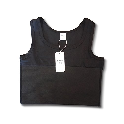 BaronHong Tomboy Trans Lesbian Pullover Half Length Chest Binder Corset Short Tank Top(Black,M)