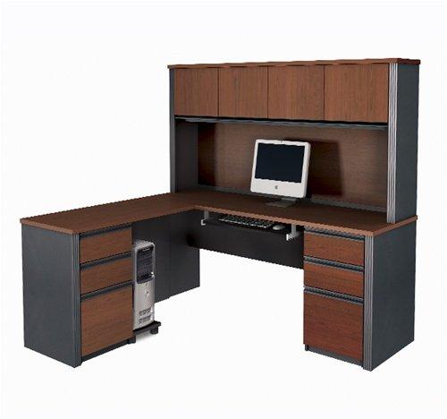 (Prestige L-shaped Corner Computer Desk with Hutch in Bordeaux & Graphite)