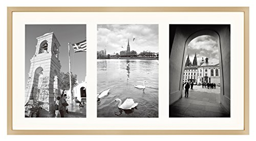 8.5x16.3 Gold Frame - Ivory Mat for Three 5x7 Pictures - Aluminum Metal - Sawtooth Hangers- Swivel Tabs - Wall Mounting - Landscape/Portrait - Real Glass - Collage Frame -