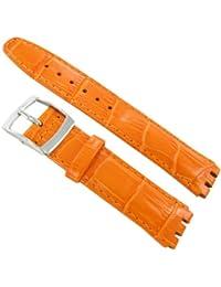 20mm Genuine Leather Alligator Grain Padded Orange Watch Band Fits Swatch