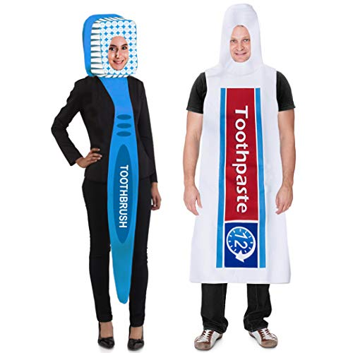 Tigerdoe Toothbrush and Toothpaste Costume - 2 Pc Set - Couples Costumes - Halloween Dress Up - Funny Costumes]()