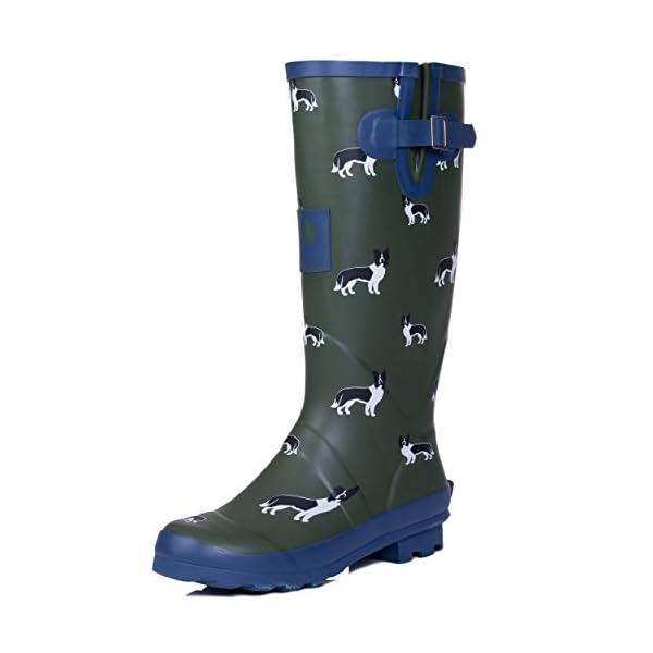 Spylovebuy Igloo Women's Adjustable Buckle Flat Festival Wellies Rain Boots 1