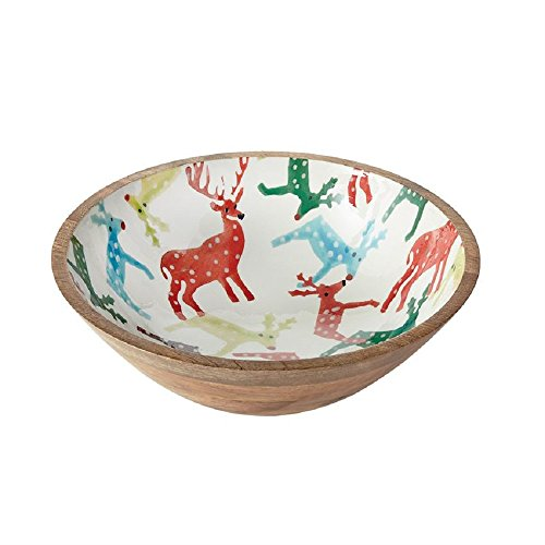 Mud Pie 4605041 Wood and Enamel Reindeer Salad Bowl Serving, One Size, Multi