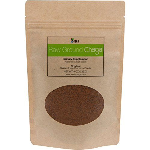 Sayan Siberian Raw Ground Chaga Powder 8 Oz (226g) - Wild Forest Mushroom Tea, Powerful Adaptogen Antioxidant Supplement, Support for Immune System, Digestive Health and Helps Inflammation Reduction