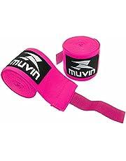 Bandagem Elástica Muvin 3 Metros Com Velcro e Alça Para Polegar - Atadura de Proteção Para Mãos e Punhos - Faixa de Boxe - Muay Thai - MMA - Artes Marciais - Treino - Unissex - Várias Cores