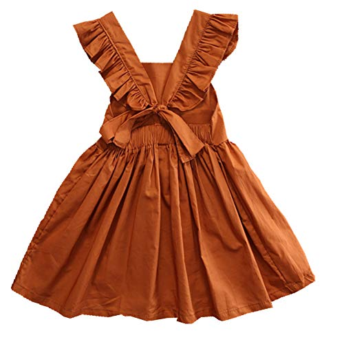 newEmergingstyle Baby Girl Princess Dress Kids Summer Ruffle Bowknot Party Tutu Dresses Skirt Clothes (3-4 Years, Coffee with Bow)