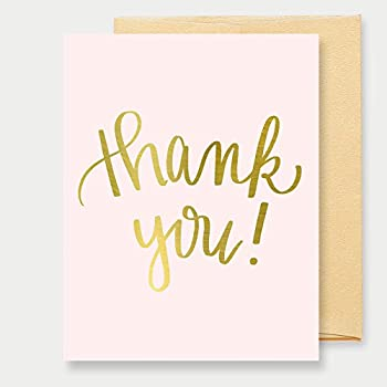 Amazon mod dot thank you card blush and gold 25 pack office pink gold foil thank you card thank you thanks a2 greeting card altavistaventures Images