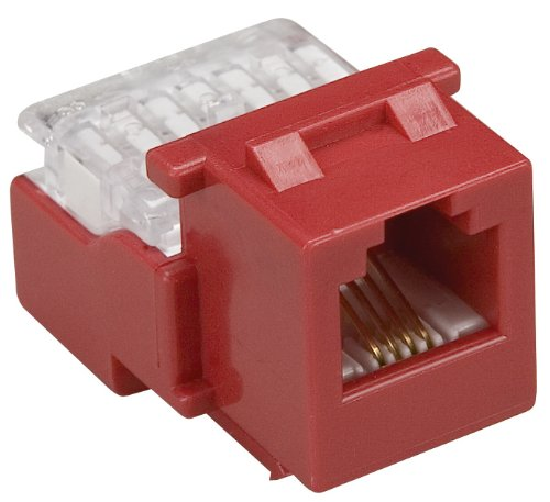 Allen Tel AT26-47 Category 3 Compact Jack Module, Red, 1 Port, EIA/TIA 568A/B Wiring, 110 Termination, 6 Conductor