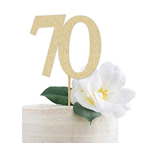 seventy seventieth Birthday Black Glitter 70 Cake Topper 70th Anniversary