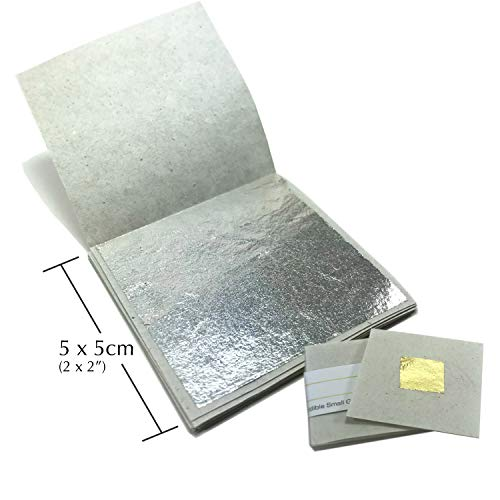 Genuine Edible Silver Leaf Sheets - by Goldleafking 30 Sheets - 2.0 x 2.0 inches for Cooking, Cake & Chocolate, Brownie, Arts, Food Decoration, Gilding, Multi-Purpose + Free Small Gold Leaf x 10 (Silver Edible Sheets)