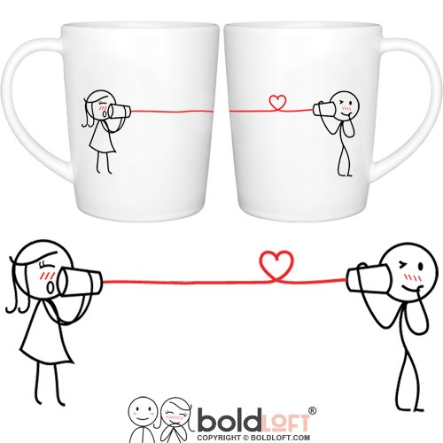BOLDLOFT Say I Love Too His and Hers Coffee Mugs- Matching Couple Mugs Set, Christmas Gifts for Couples, Christmas Gifts for Boyfriend for Husband, Couples Gifts for Him and Her, Valentines Day Gifts
