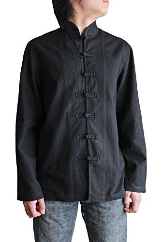 Sawan-Mens-Hemp-Chinese-Collar-Jacket-Black
