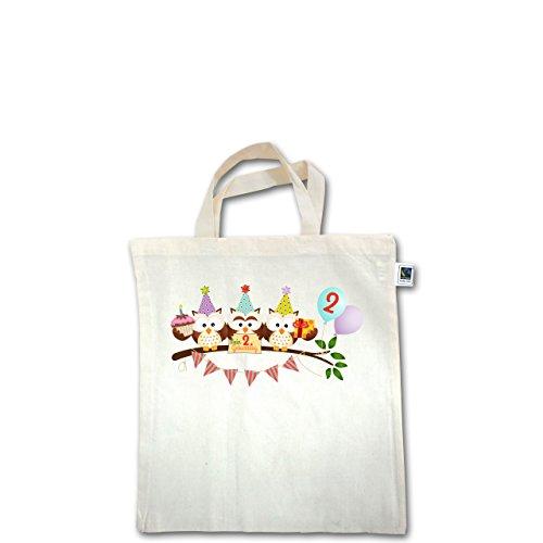 Geburtstag Kind - 2. Geburtstag süße Party Eulen - Unisize - Natural - XT500 - Fairtrade Henkeltasche / Jutebeutel mit kurzen Henkeln aus Bio-Baumwolle