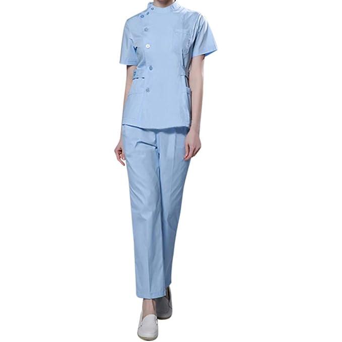 ESENHUANG Enfermera para Mujer Ropa Médica Trajes Quirúrgicos De Hospital Peelings Uniformes De Enfermería Salón De Belleza Mujer Escudo De Manga Corta + ...