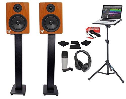 (2) Rockville 5.25'' 250w Powered Studio Monitors+Stands+Headphones+Mic+Foam Pads by Rockville