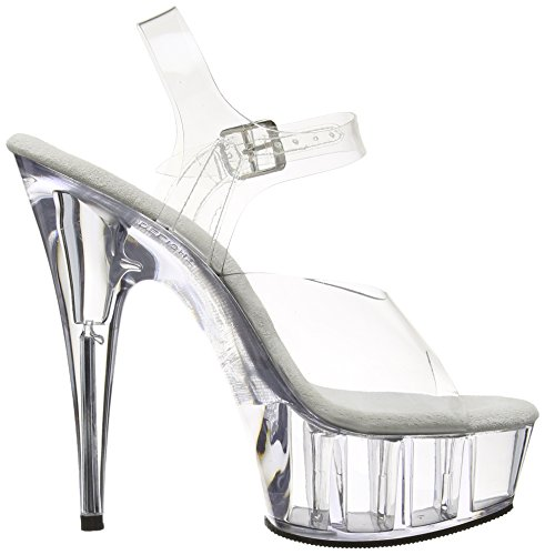 Pleaser Del608 / C / M, Dame Plateau Pumps Transparent (klar)