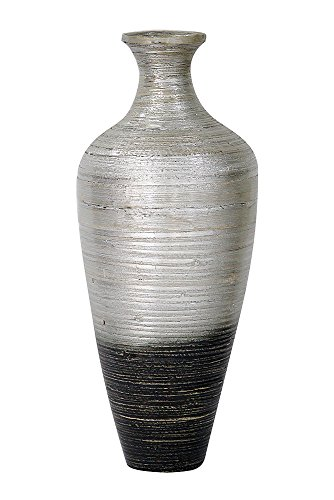 Heather Ann Creations W33951-SWD Crafted Classic Bamboo Jar Vase w Small Opening, Antique White/Grey (Silver Floor Vases)