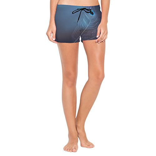 Women's Beach Shorts Peacock On Blur Background Swim Trunk with Pockets by XiangHeFu