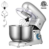 GWELL Stand Mixer, 6-Speed Tilt-Head Electric Mixer with StainlessSteel Bowl, Dough Hook, Beater and Whisk, Silver