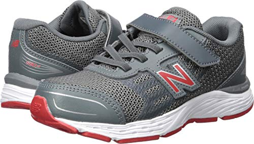 New Balance Boys' 680v5 Hook and Loop Running Shoe, Lead/red, 1 M US Little Kid (Boys Shoes Big Kid Velcro)