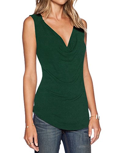 (Sarin Mathews Women's V Neck Ruched Sleeveless Sexy Blouse Stretch Tank Tops InkGreen XL)
