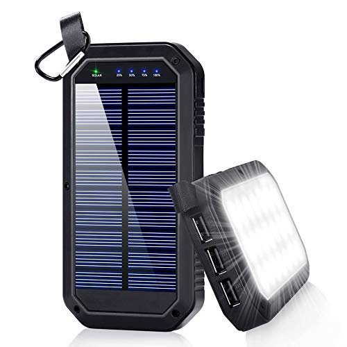Solar Charger, Dostyle 8000mAh Portable Solar Power Bank External Backup Battery Pack 3 USB Ports Solar Phone charger with 21 LED light Compatible for All Cellphone Samsung Galaxy & Android Devices (Charger Phone Wind)