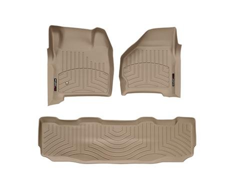 1999-2007 Ford Super Duty (F-250/F-350/F-450/F-550) SuperCrew Tan Weathertech Floor Liner (Full Set: 1st & 2nd Row)